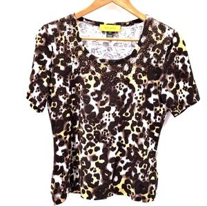 St John Small Cheetah Print Tee Shirt Scoop Neck